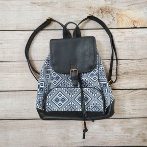 Navy White Boho Tribal Geometric Printed Backpack